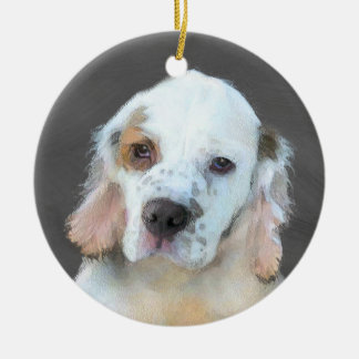 Clumber Spaniel Painting - Cute Original Dog Art Ceramic Ornament