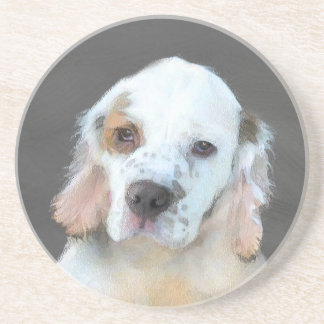 Clumber Spaniel Painting - Cute Original Dog Art Coaster