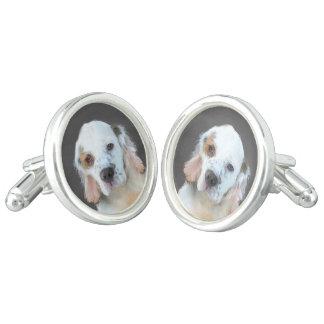 Clumber Spaniel Painting - Cute Original Dog Art Cufflinks