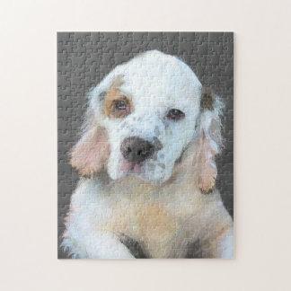 Clumber Spaniel Painting - Cute Original Dog Art Jigsaw Puzzle