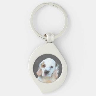 Clumber Spaniel Painting - Cute Original Dog Art Keychain