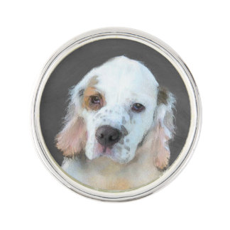 Clumber Spaniel Painting - Cute Original Dog Art Lapel Pin