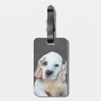 Clumber Spaniel Painting - Cute Original Dog Art Luggage Tag