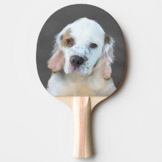 Clumber Spaniel Painting - Cute Original Dog Art Ping Pong Paddle