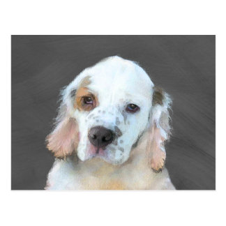 Clumber Spaniel Painting - Cute Original Dog Art Postcard