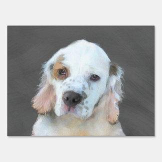 Clumber Spaniel Painting - Cute Original Dog Art Sign