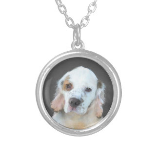 Clumber Spaniel Painting - Cute Original Dog Art Silver Plated Necklace