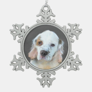 Clumber Spaniel Painting - Cute Original Dog Art Snowflake Pewter Christmas Ornament