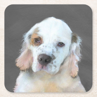 Clumber Spaniel Painting - Cute Original Dog Art Square Paper Coaster
