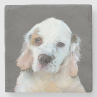 Clumber Spaniel Painting - Cute Original Dog Art Stone Coaster