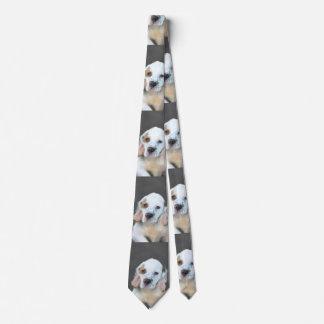 Clumber Spaniel Painting - Cute Original Dog Art Tie