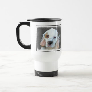 Clumber Spaniel Painting - Cute Original Dog Art Travel Mug