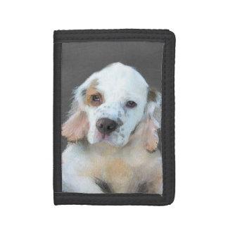 Clumber Spaniel Painting - Cute Original Dog Art Trifold Wallet
