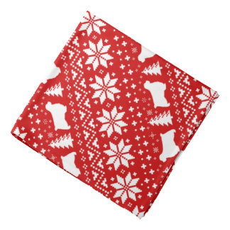 Clumber Spaniel Silhouettes Christmas Pattern Red Bandana