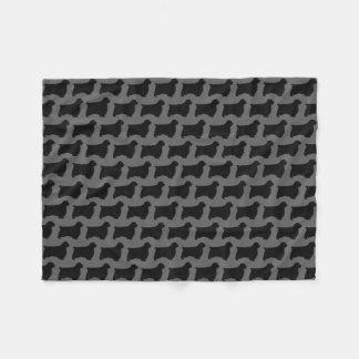 Clumber Spaniel Silhouettes Pattern Grey Fleece Blanket