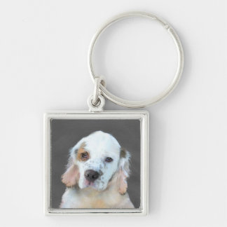Clumber Spaniel Silver-Colored Square Keychain