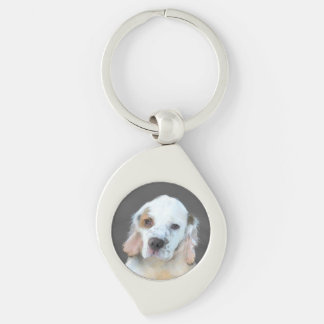Clumber Spaniel Silver-Colored Swirl Keychain