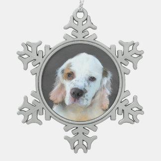 Clumber Spaniel Snowflake Pewter Christmas Ornament