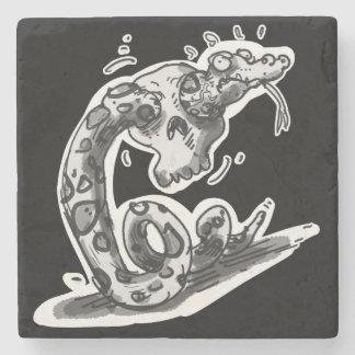 clumsy rattlesnake stuck into the skull cartoon stone coaster