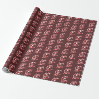 clumsy snake stuck into the skull cartoon wrapping paper