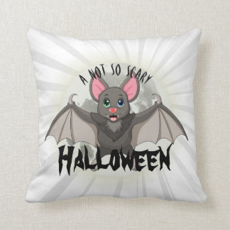 Clumsy, The Little Bat & A Not So Scary Halloween Throw Pillow