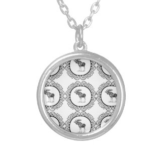 cluster of bull moose silver plated necklace