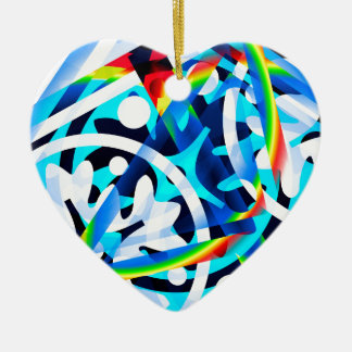 Cluster of Colorful Abstract Shapes Ceramic Heart Ornament