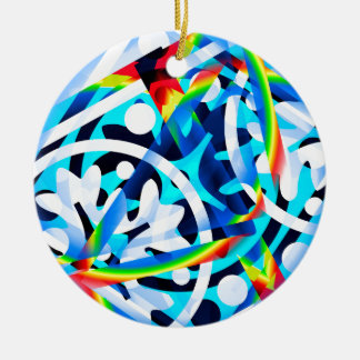 Cluster of colorful Abstract shapes Round Ceramic Ornament