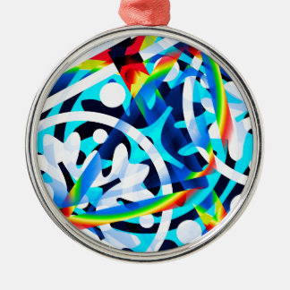 Cluster of Colorful Abstract Shapes Silver-Colored Round Ornament