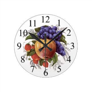 Cluster of Fruit Round Clock