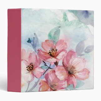 CLuster of Pink Flowers 3 Ring Binders