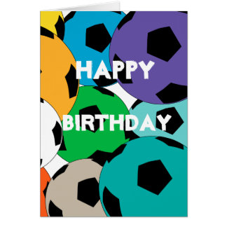 cluster of soccer balls, Happy  Birthday Card