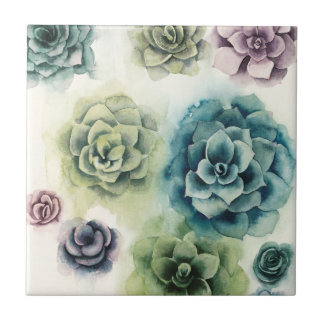 Cluster of Succulents Tile