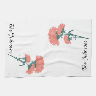 Cluster of Three Pink Carnations with Surname Kitchen Towel