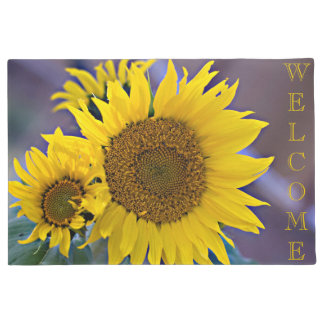 Clustered Sunflowers Close-Up Photograph Doormat