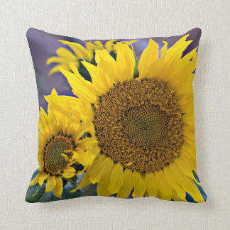 Clustered Sunflowers Close-Up Photograph Throw Pillow