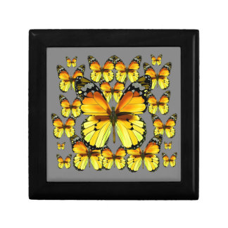 CLUSTERED YELLOW-BROWN  BUTTERFLIES GREY GIFT BOX