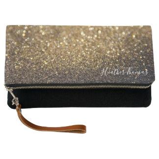 Clutch - Glitter Gold Black Name