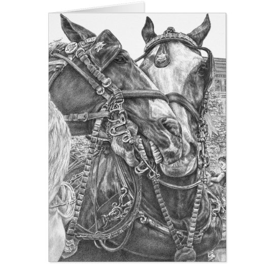 Clydesdale Draught   Horse Drawing by Kelli Swan Card