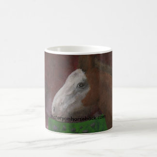 Clydesdale foal at his mother's side coffee mug