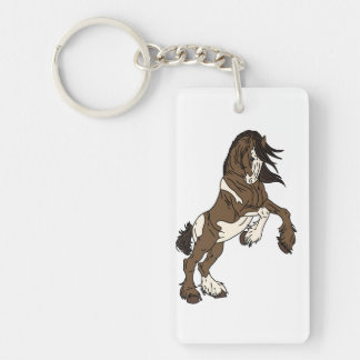 Clydesdale rearing Double-Sided rectangular acrylic keychain