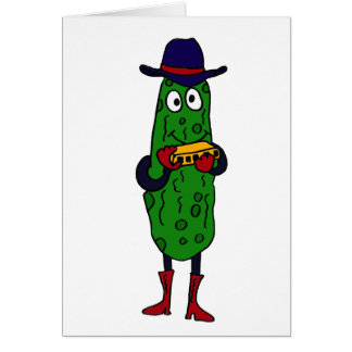 CM- Funny Pickle Playing Harmonica Cartoon Card