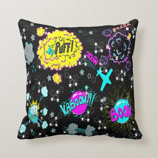 CMYK Hipster Comic Book Expressions Throw Pillow