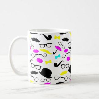 CMYK hipster mustache pattern Basic White Mug