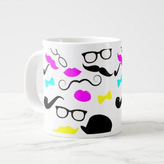 CMYK hipster mustache pattern Jumbo Mug