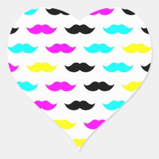 CMYK hipster mustache pattern Sticker