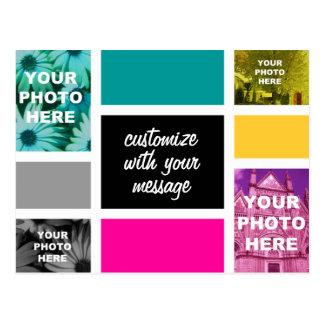 CMYK Mondrian-esque Colorblock Photo Collage Postcard