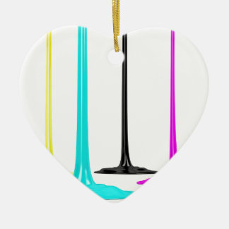 CMYK paint pour on white Ceramic Heart Ornament