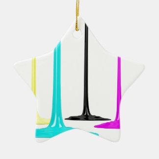 CMYK paint pour on white Ceramic Ornament