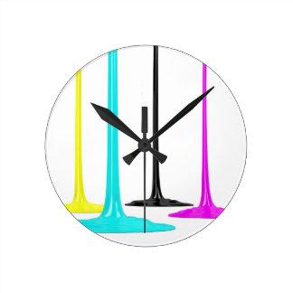 CMYK paint pour on white Round Clock